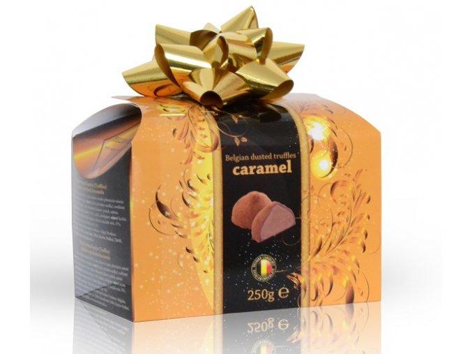 Belgické lanýže s náplní s příchutí karamelu s mašlí 250 g