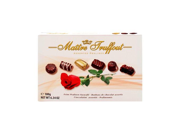 Maitre Truffout - Belgické pralinky z hořké, bílé a mléčné čokolády 180g