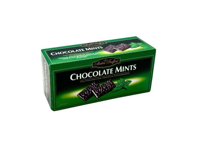 Maitre Truffout - Plátky hořké čokolády s fondánovou náplní s příchutí máty 200g
