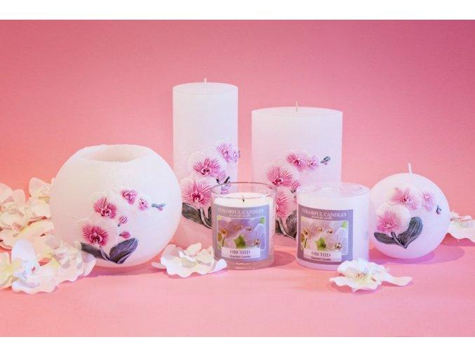 Svíce dekorační vonná Orchidea - růžová koule