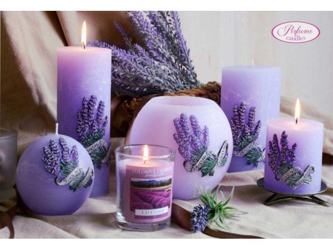 Svíce dekorační vonná Levandule - fialková skleněná dóza