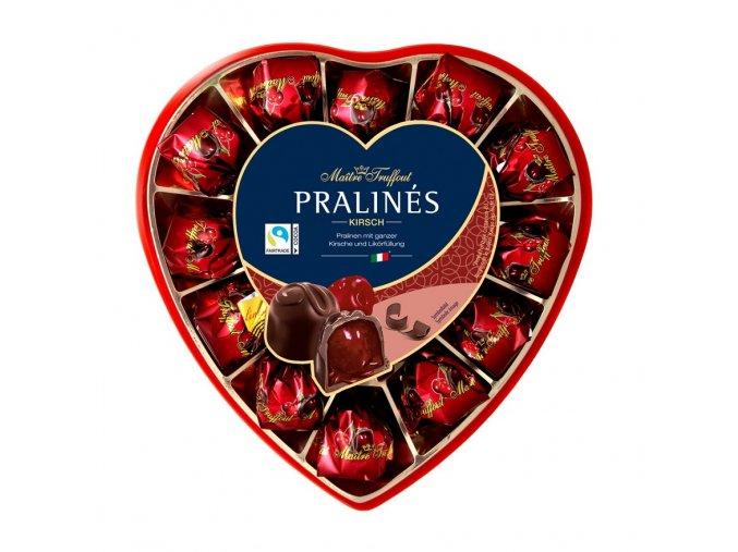 Pralinky z hořké čokolády s višní a likérem 4% 140 g (srdce)