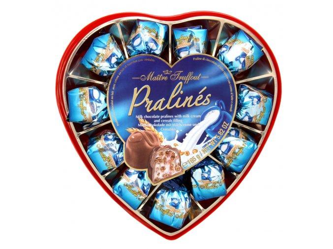 Pralinky z mléčné čokolády s mléčným krémem a cereáliemi 165 g (srdce)