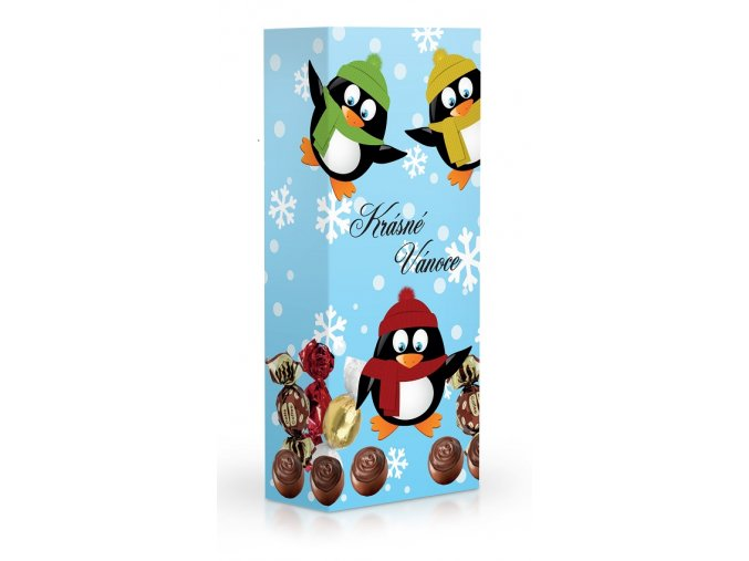 Čokoládové plněné pralinky - Krásné Vánoce Tučňáci 84g