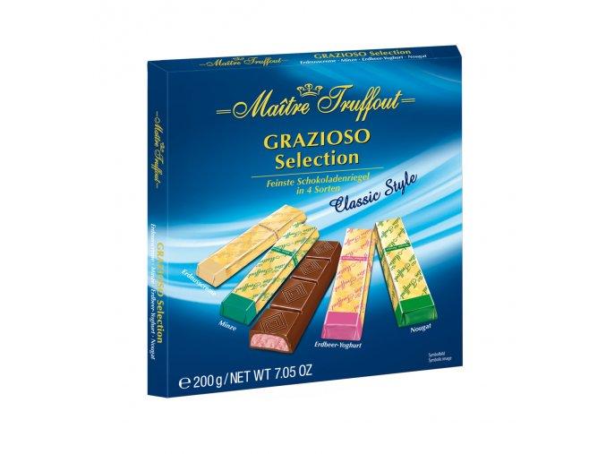 Maitre Truffout - Mix plněných hořkých a mléčných čokoládových tyčinek s náplní 200g - modré