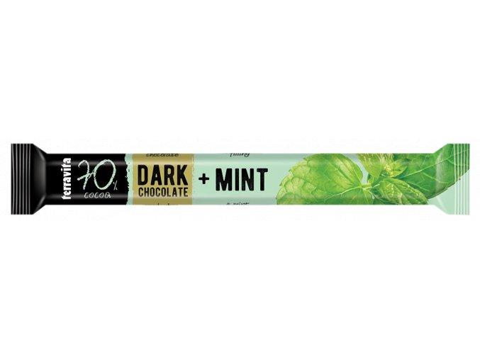 Hořká čokoláda mátová 70% - tyčinka 31 g