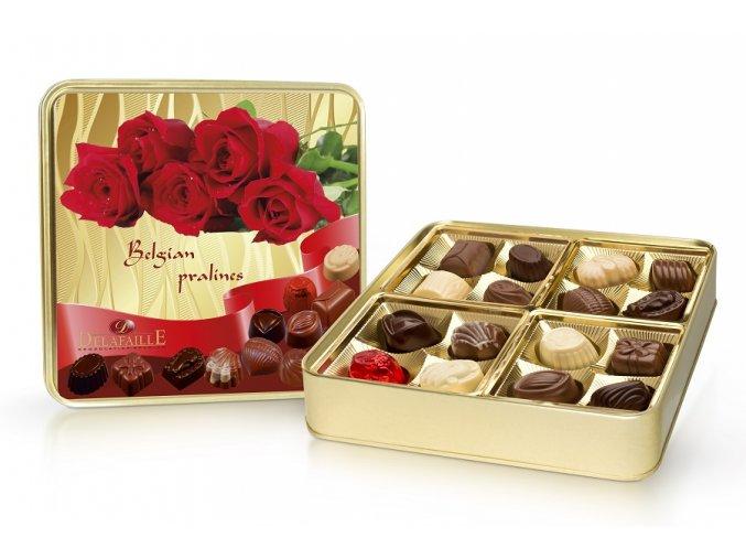 Růže - plněné belgické pralinky v plechové dóze 200g