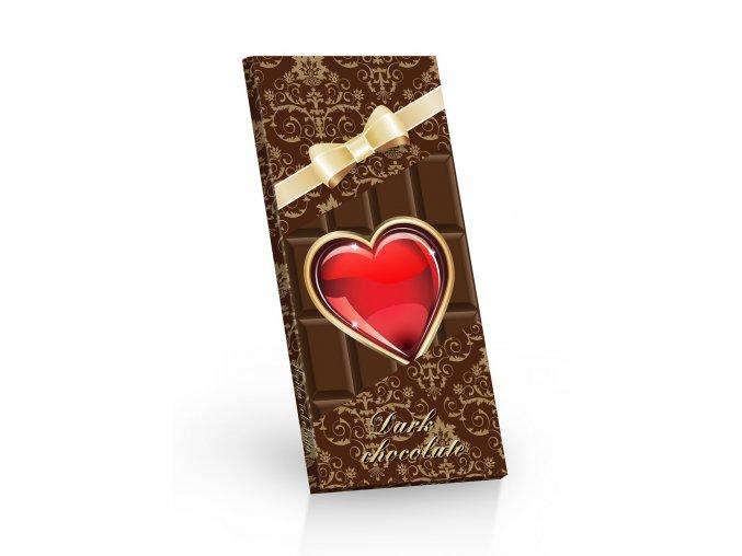 Čokoláda extra hořká 72% srdíčko s mašlí 100g