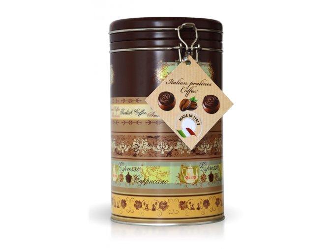 Pralinky z mléčné čokolády s kávovým krémem v dárkovém balení 450 g (plechová dóza)