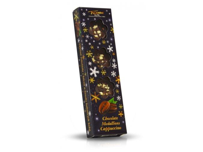 Trianon čokoládové medailonky Cappuccino - černé, vločky 60g