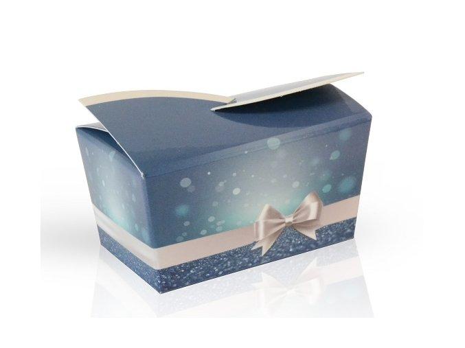Modrá Vánoční -  Minibonboniérka s čokoládovými pralinkami s lískooříškovým krémem  28g