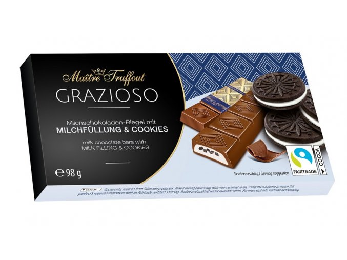 Grazioso milk chocolate with milk cream and cocoa biscuit pieces 98g Image 1 Zoom image