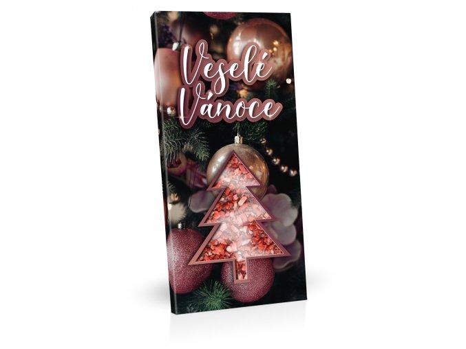 Hořká čokoláda 100g s posypem sušeného ovoce a s výřezem vánočního stromečku