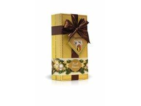 Veselé Vánoce - lanýže mléčné Cappuccino s hoblinkami z bílé čokolády (žlutý obal s mašlí) 250g