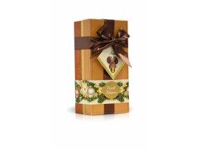 Veselé Vánoce - lanýže mléčné s hoblinkami z hořké čokolády (okrový obal s mašlí) 250g