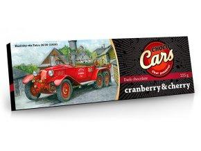 CHOCO CARS hořká čokoláda s kousky brusinek a višní 225g