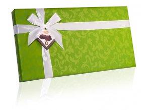 Belgické čokoládové lanýže hořké v zeleném papíru se stuhou 400g obdélník