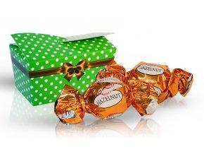 Výběr čokoládových pralinek 32 g - zelená s puntíky