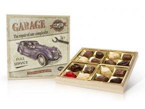 Retro cars GARAGE - belgické pralinky v dřevěné dóze 200 g