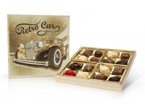 Retro Cars - belgické pralinky v dřevěné dóze 200 g
