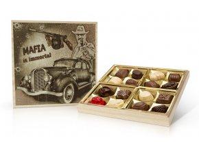 Retro cars MAFIA - belgické pralinky v dřevěné dóze 200 g