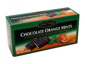 Maitre Truffout - Plátky hořké čokolády s náplní s příchutí máty a pomeranč 200g