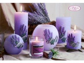 Svíce dekorační vonná Levandule - fialková válec malý