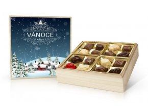 Vánoční belgické pralinky v dřevěné dóze 400 g (dřevěný motiv)