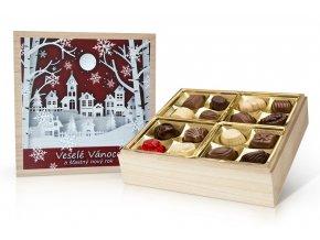 Vánoční belgické pralinky v dřevěné dóze 400 g (baňky červená)