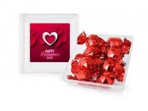 Vánoční čokoládové pralinky s kakaovou náplní v plastové dóze 112 g (červené)