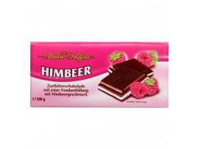 Hořká čokoláda s fondánovou náplní s malinovou příchutí 100 g