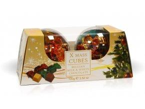 Vánoční baňky - Belgické pralinky Cubix z mléčné a bílé čokolády 100g