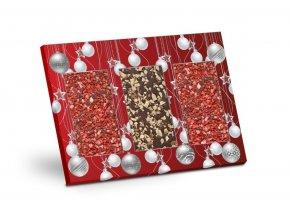Výběr čokolád s posypem 2x jahoda a 1x mandle - Červené Vánoce 279g
