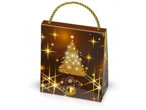 Mandle v belgické čokoládě v hnědé dárkové tašce 200g se zlatým stromkem