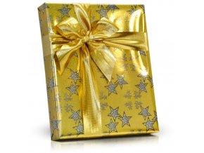 Bonboniéra v dárkovém balení s mašlí s plněnými čokoládovými lodičkami 125g zlatá