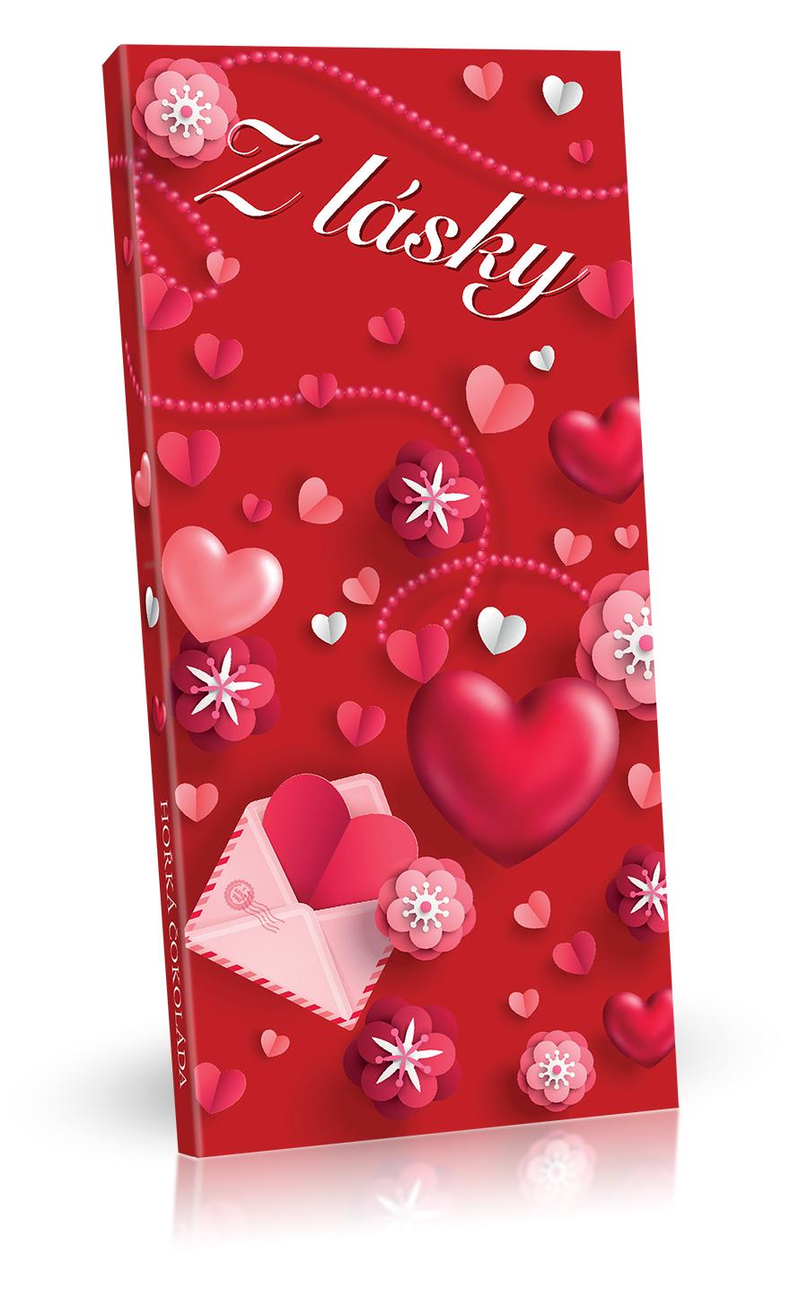 Vyrobeno v EU Čokoláda hořká 85% 100g Z lásky (srdíčka 3D)