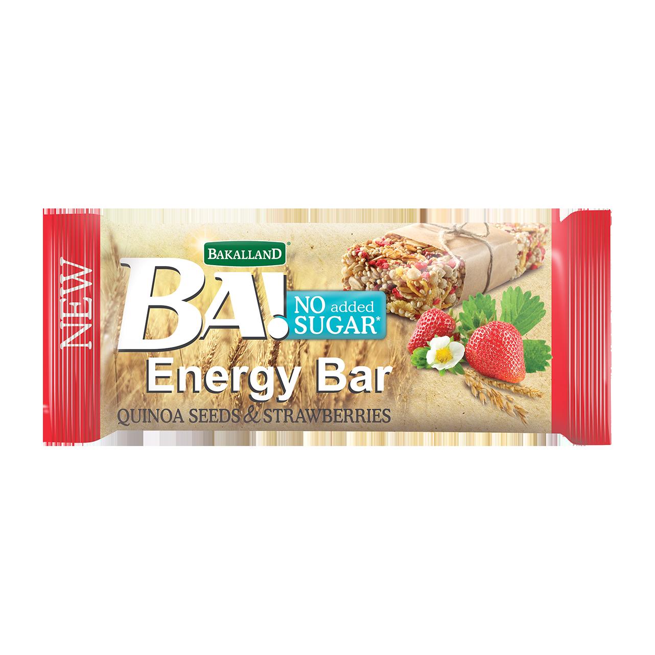 Vyrobeno v Polsku BA energetická tyčinka quinoa/jahody 30 g - BEZ CUKRU