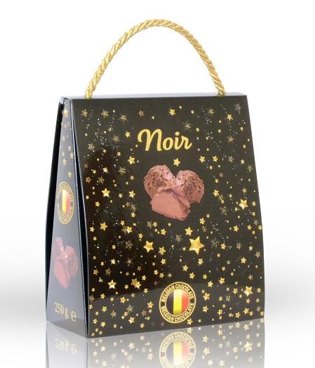 Vyrobeno v Belgii Mléčné čokoládové lanýže s vločkami z hořké čokolády (dárková taška) 250g
