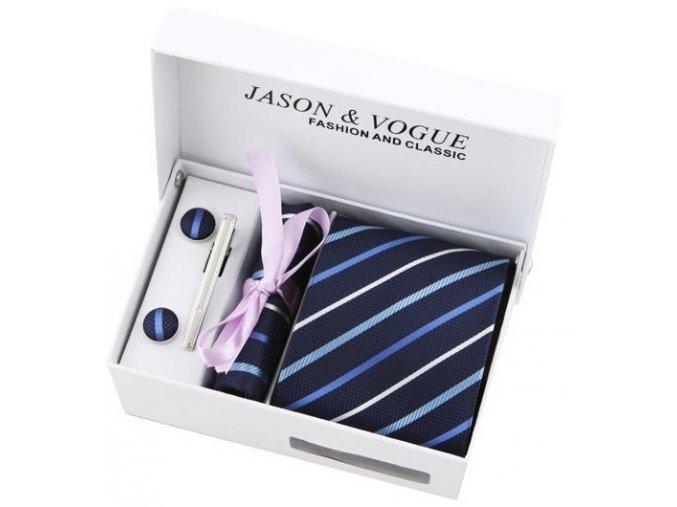 Luxusní dárkový balíček - kravata tmavě modrá proužkovaná