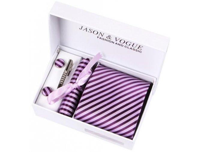 Luxusní dárkový balíček - kravata fialová proužkovaná