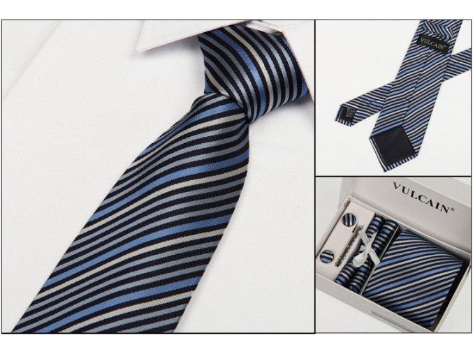 Luxusní dárkový balíček - kravata šedomodrá