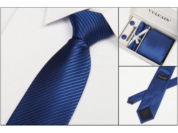 Luxusní dárkový balíček - kravata modrá s pruhy