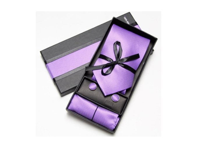 Luxusní dárkový balíček - kravata fialová