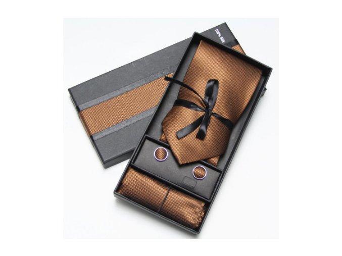 Luxusní dárkový balíček - kravata hnědá