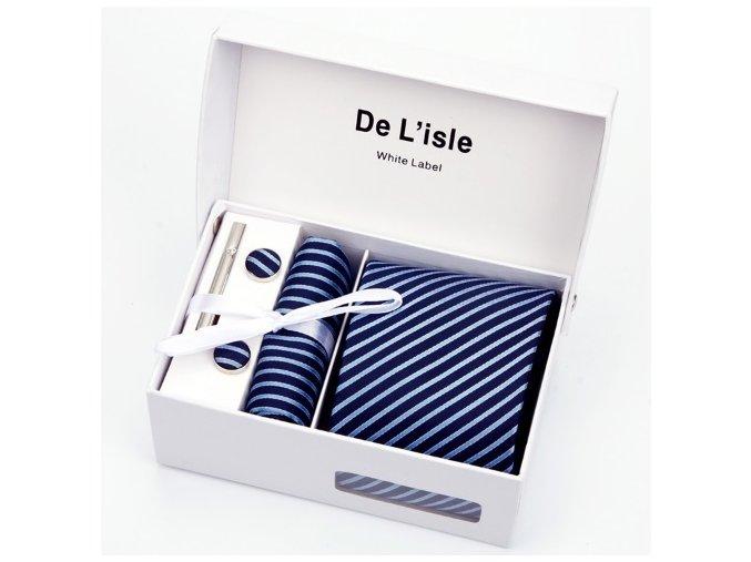 Luxusní dárkový balíček - kravata modrá s tenkými proužky