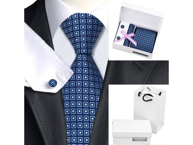 Luxusní dárkový balíček - kravata modrá s čtverečkovým vzorem
