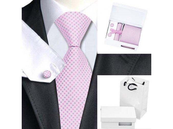 Luxusní dárkový balíček - kravata růžová se vzorem