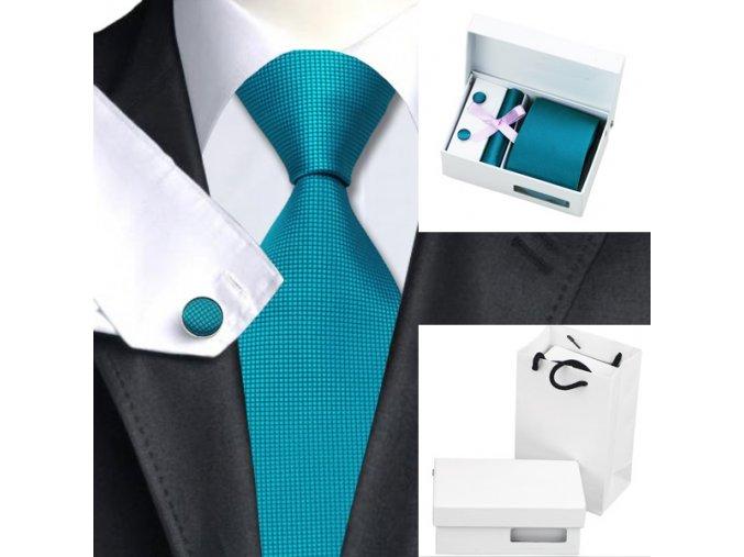 Luxusní dárkový balíček - kravata tyrkysová