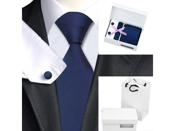 Luxusní dárkový balíček - kravata tmavě modrá