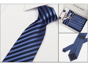 Luxusní dárkový balíček - kravata modrá proužkovaná